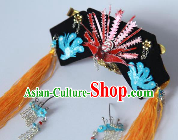 Traditional Handmade Chinese Qing Dynasty Hair Accessories Tassel Headwear, Manchu High Coiffure Imperial Concubine Headpiece