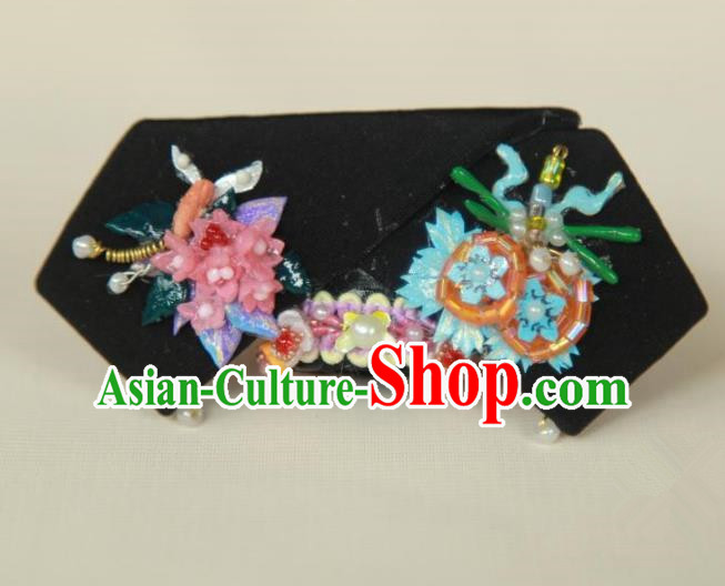 Traditional Handmade Chinese Qing Dynasty Hair Accessories Headwear, Manchu High Coiffure Imperial Concubine Headpiece