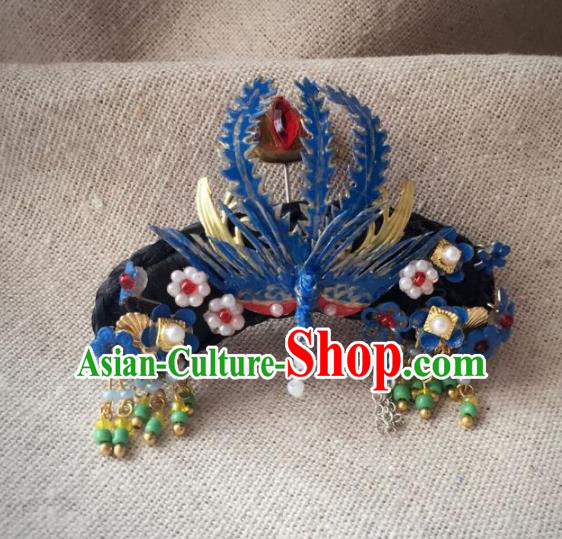 Traditional Handmade Chinese Qing Dynasty Hair Accessories Headwear, China Manchu Imperial Concubine Phoenix Hairpins Headpiece