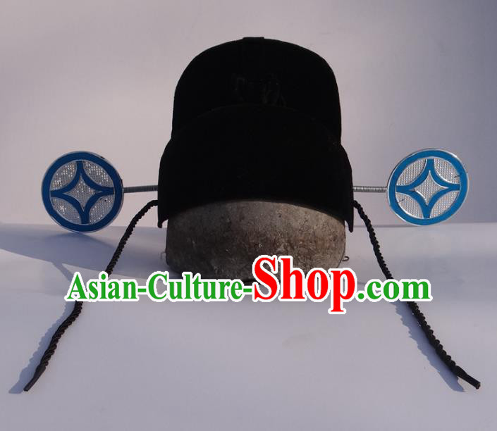 Traditional Chinese Ming Dynasty Black Gauze Cap, China Ancient County Magistrate Hat Headwear for Men