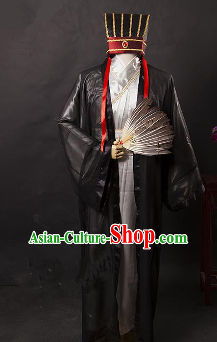 Traditional Chinese Peking Opera Old Men Costume, China Ancient Beijing Opera Three Kingdoms Zhuge Liang Gwanbok for Men