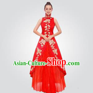 Traditional Chinese National Young Lady Red Qipao Wedding Costume, China Embroidered Cheongsam for Women