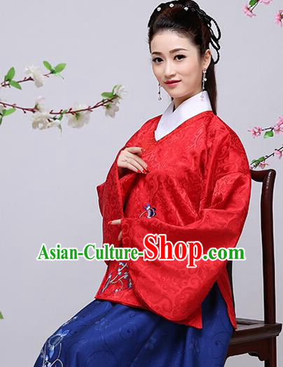 Traditional Chinese Ming Dynasty Young Lady Costume, China Ancient Princess Embroidered Blouse and Skirt Clothing for Women