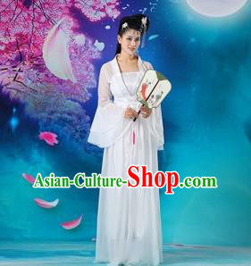 Traditional Chinese Tang Dynasty Young Lady Costume, China Ancient Princess Embroidered Fairy White Dress Clothing for Women
