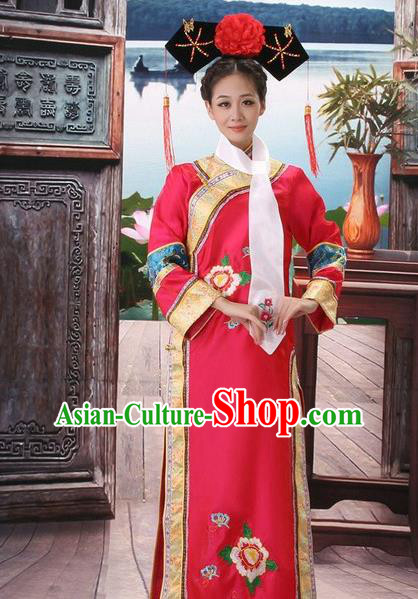 Traditional Ancient Chinese Manchu Palace Lady Red Costume, Asian Chinese Qing Dynasty Princess Embroidered Dress Clothing for Women