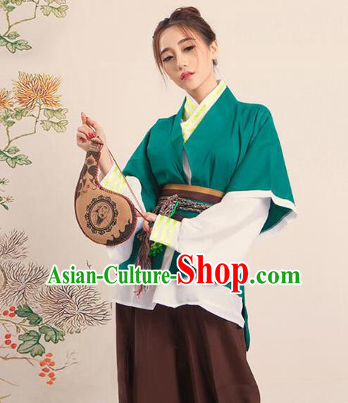 Traditional Ancient Chinese Swordswoman Costume, Asian Chinese Han Dynasty Manservant Clothing for Women