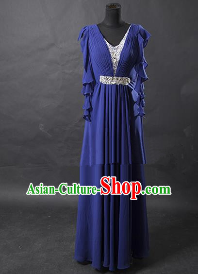 Traditional Chinese Modern Dancing Costume, Women Opening Classic Chorus Singing Group Blue Full Dress for Women