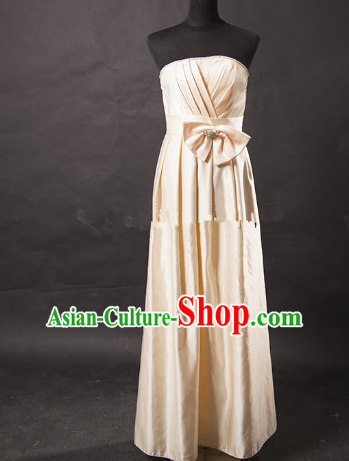 Traditional Chinese Modern Dancing Costume, Women Opening Classic Chorus Singing Group Beige Full Dress for Women