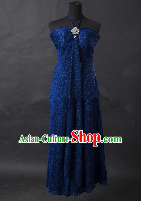 Traditional Chinese Modern Dancing Costume, Women Opening Classic Chorus Singing Group Peacock Blue Full Dress for Women