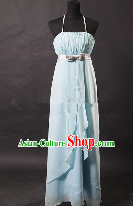 Traditional Chinese Modern Dancing Costume, Women Opening Classic Chorus Singing Group Light Blue Full Dress for Women