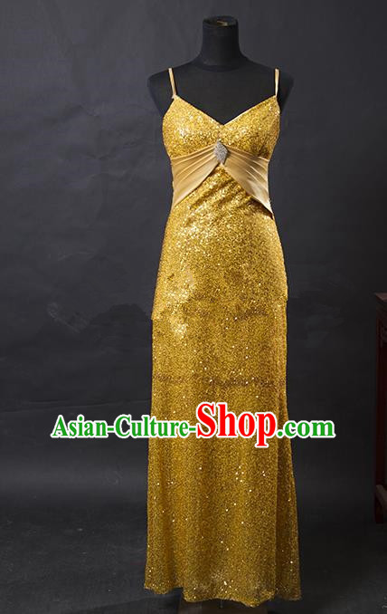 Traditional Chinese Modern Dancing Costume, Women Opening Classic Chorus Singing Group Golden Full Dress for Women