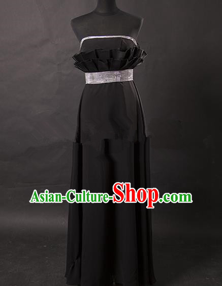 Traditional Chinese Modern Dancing Costume, Women Opening Classic Chorus Singing Group Black Full Dress for Women