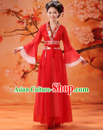 Traditional Ancient Chinese Palace Lady Fairy Costume, Asian Chinese Tang Dynasty Princess Embroidered Red Dress Clothing for Women