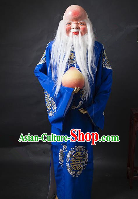 Traditional Ancient Chinese Peking Opera Costume, Asian Chinese God of Longevity Robe Clothing for Men