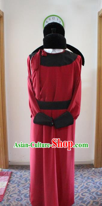 Traditional Ancient Chinese Minister Costume and Headpiece, Asian Chinese Tang Dynasty Chancellor Clothing for Men