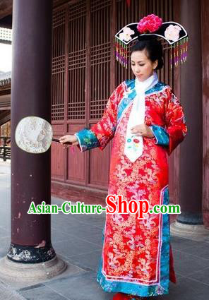 Traditional Ancient Chinese Manchu Palace Lady Costume, Asian Chinese Qing Dynasty Imperial Consort Embroidered Red Dress Clothing for Women