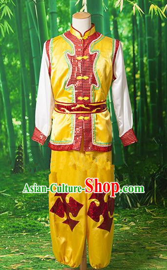 Traditional Chinese Classical Dance Yangge Fan Dance Costume, Folk Dance Drum Dance Uniform Yangko Clothing for Men