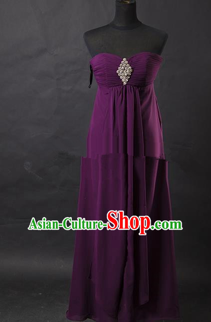 Traditional Chinese Modern Dancing Costume, Women Opening Classic Chorus Singing Group Purple Full Dress for Women