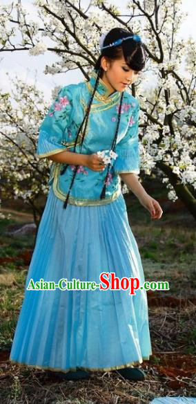 Traditional Ancient Chinese Manchu Nobility Lady Blue Costume, Asian Chinese Qing Dynasty Embroidered Dress Clothing for Women