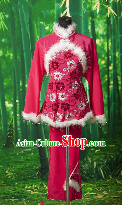 Traditional Chinese Classical Dance Yangge Fan Dancing Costume, Folk Dance Uniform Yangko Red Costume for Women