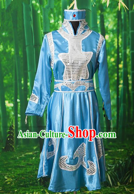 Traditional Chinese Mongol Nationality Dancing Costume, Mongols Female Ethnic Pleated Skirt, Chinese Mongolian Minority Blue Costume for Women