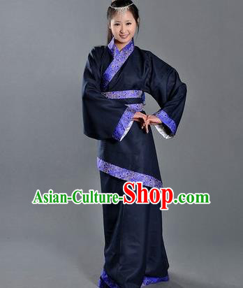 Asian China Ancient Han Dynasty Palace Lady Costume, Traditional Chinese Hanfu Embroidered Navy Curve Bottom Clothing for Women