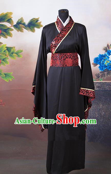 Asian China Ancient Han Dynasty Palace Lady Wedding Costume, Traditional Chinese Hanfu Embroidered Black Curve Bottom Clothing for Women
