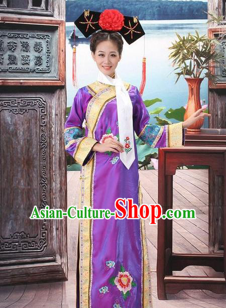 Traditional Ancient Chinese Manchu Palace Lady Purple Costume, Asian Chinese Qing Dynasty Princess Embroidered Dress Clothing for Women