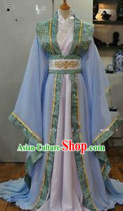 Asian China Ancient Tang Dynasty Palace Lady Costume, Traditional Chinese Hanfu Princess Embroidered Dress Clothing for Women
