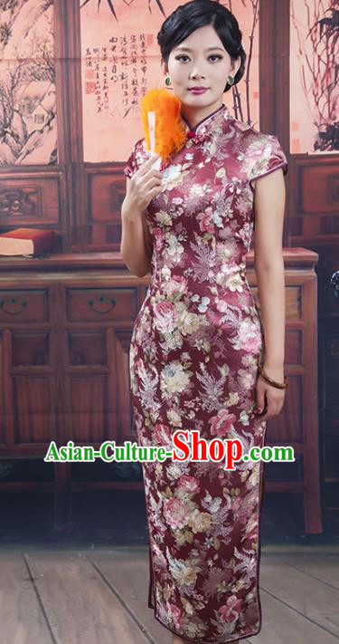Traditional Ancient Chinese Republic of China Cheongsam Costume, Asian Chinese Silk Chirpaur Clothing for Women