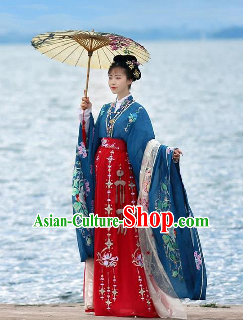 Asian Chinese Tang Dynasty Imperial Consort Wedding Embroidered Costume, Ancient China Embroidery Blouse and Skirt Complete Set