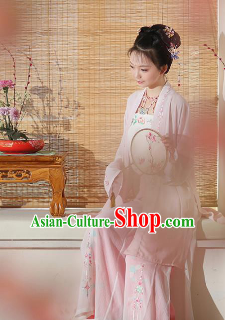 Asian Chinese Song Dynasty Young Lady Embroidered Costume, Ancient China Princess Embroidery BeiZi and Pants Complete Set