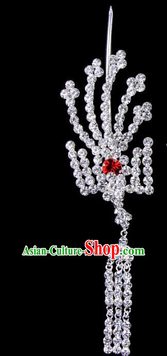 Traditional Beijing Opera Diva Hair Accessories Red Crystal Inclined Phoenix Tassel Hairpins, Ancient Chinese Peking Opera Hua Tan Hair Stick Headwear