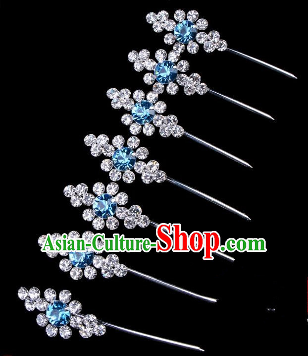 Traditional Beijing Opera Diva Hair Accessories Blue Crystal Head Ornaments Complete Set, Ancient Chinese Peking Opera Hua Tan Hairpins Hair Stick Headwear