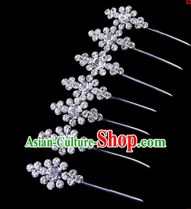 Traditional Beijing Opera Diva Hair Accessories Crystal Head Ornaments Complete Set, Ancient Chinese Peking Opera Hua Tan Hairpins Hair Stick Headwear