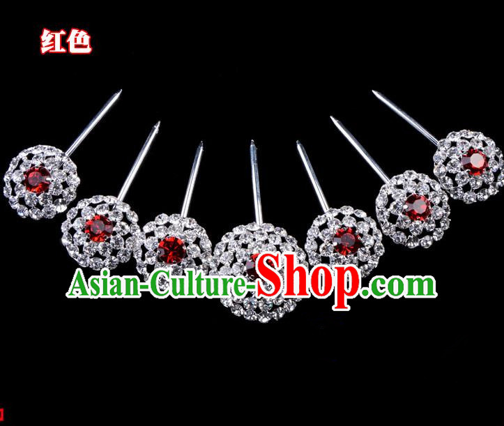 Traditional Beijing Opera Diva Hair Accessories Red Crystal Head Ornaments Complete Set, Ancient Chinese Peking Opera Hua Tan Round Hairpins Hair Stick Headwear