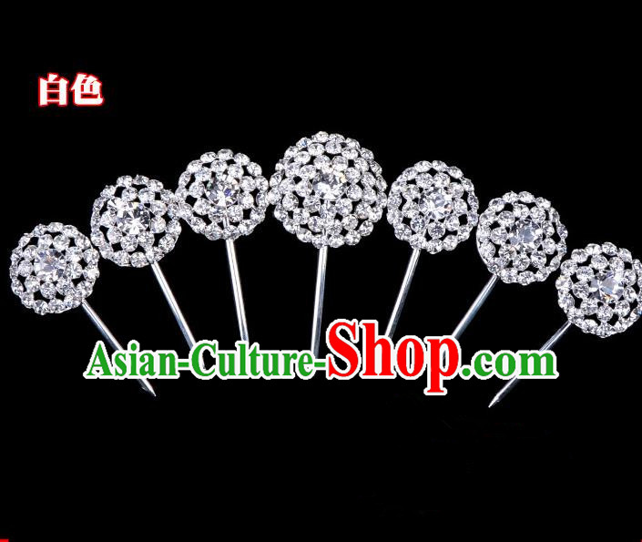 Traditional Beijing Opera Diva Hair Accessories Crystal Head Ornaments Complete Set, Ancient Chinese Peking Opera Hua Tan Round Hairpins Hair Stick Headwear