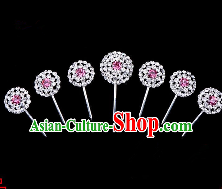 Traditional Beijing Opera Diva Hair Accessories Pink Crystal Head Ornaments Complete Set, Ancient Chinese Peking Opera Hua Tan Round Hairpins Hair Stick Headwear