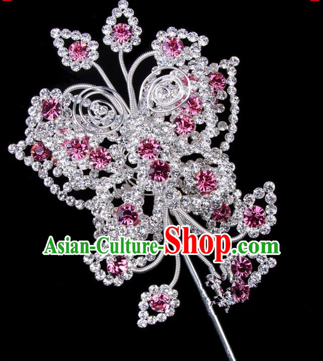 Traditional Beijing Opera Diva Hair Accessories Pink Crystal Butterfly Head Ornaments, Ancient Chinese Peking Opera Hua Tan Large Hairpins Hair Stick Headwear