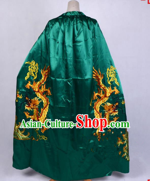 Top Grade Professional Beijing Opera Costume Emperor Embroidered Green Cloak, Traditional Ancient Chinese Peking Opera King Embroidery Dragons Mantle Clothing