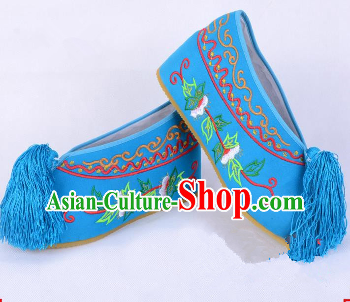 Traditional Beijing Opera Diva Blue Satin Embroidered Shoes Cloth Shoes, Ancient Chinese Peking Opera Hua Tan Princess Blood Stained Shoes