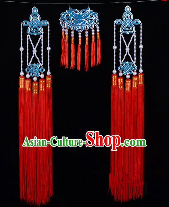 Traditional Beijing Opera Diva Hair Accessories Empress Head Ornaments Temples Curtain Hairpins, Ancient Chinese Peking Opera Hua Tan Red Tassel Headwear
