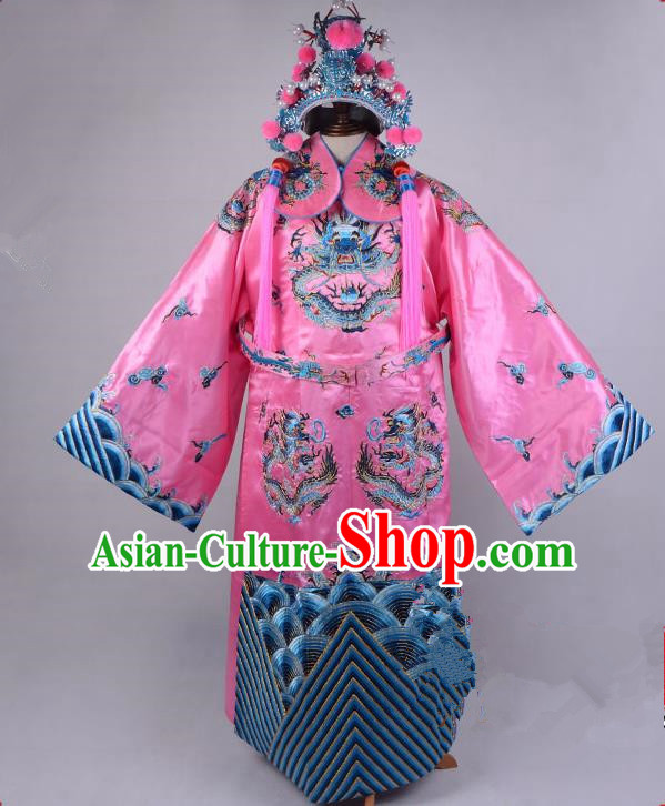 Top Grade Professional Beijing Opera Emperor Costume Royal Highness Pink Embroidered Robe and Belts, Traditional Ancient Chinese Peking Opera Embroidery Dragons Clothing