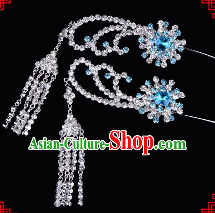 Traditional Beijing Opera Diva Hair Accessories Blue Crystal Tassel Step Shake Hairpins, Ancient Chinese Peking Opera Hua Tan Hair Stick Headwear