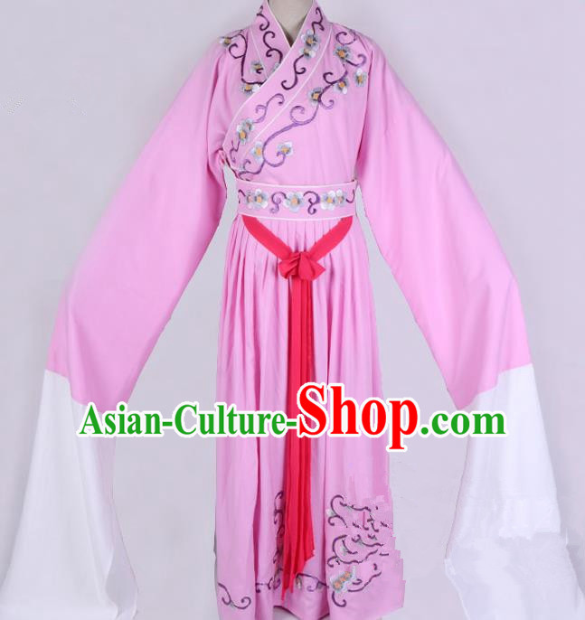 Top Grade Professional Beijing Opera Diva Costume Young Lady Pink Embroidered Dress, Traditional Ancient Chinese Peking Opera Princess Embroidery Clothing