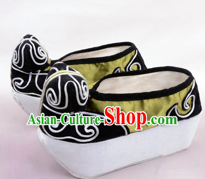 Traditional Beijing Opera Niche Green Shoes Young Men Fulfillment of Cloud, Ancient Chinese Peking Opera Scholar Satin Flange Shoes