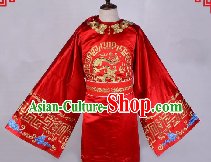 Top Grade Professional Beijing Opera Niche Costume Officer Red Embroidered Robe, Traditional Ancient Chinese Peking Opera Embroidery Gwanbok Clothing