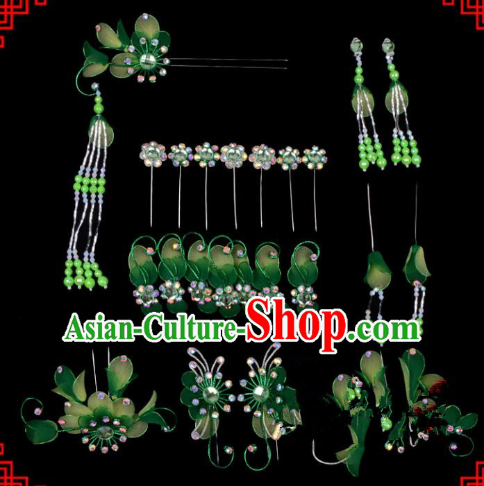 Traditional Beijing Opera Diva Hair Accessories Head Ornaments Complete Set Green Hairpins, Ancient Chinese Peking Opera Hua Tan Hair Stick Headwear