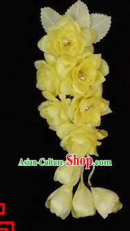 Traditional Beijing Opera Diva Hair Accessories Temples Yellow Silk Flowers Head Ornaments Hairpins, Ancient Chinese Peking Opera Hua Tan Hair Stick Headwear