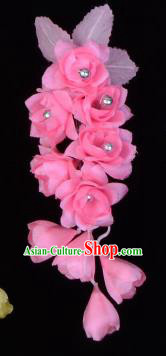 Traditional Beijing Opera Diva Hair Accessories Temples Pink Silk Flowers Head Ornaments Hairpins, Ancient Chinese Peking Opera Hua Tan Hair Stick Headwear